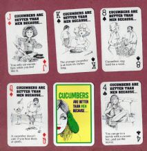 Collectible playing cards Cucumbers, funny cartoon